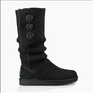 UGG black Cardi knit button boots size 8